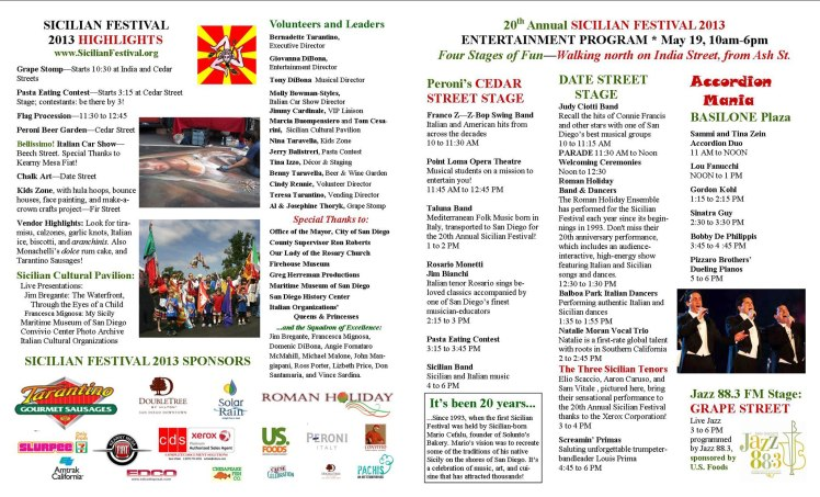 Schedule of Events for the 20th Sicilian Festival in San Diego - May 19, 2013