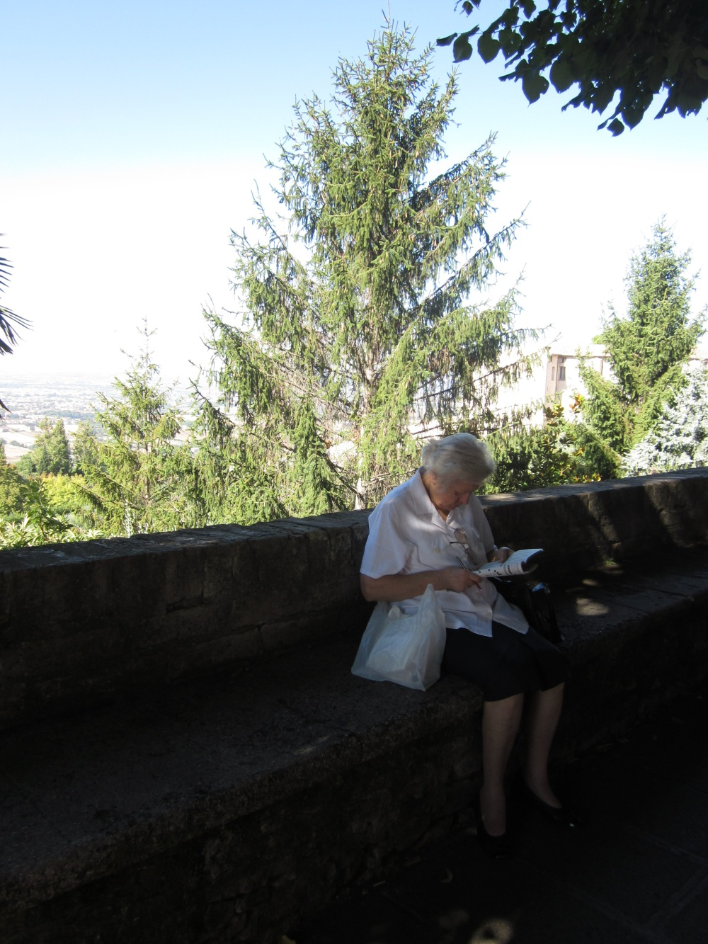 The lady who was doing her crossword puzzles in Assisi -- Copyright  Francesca Mignosa 2013